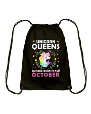 Unicorn Queens Are Born In October Drawstring Bag thumbnail