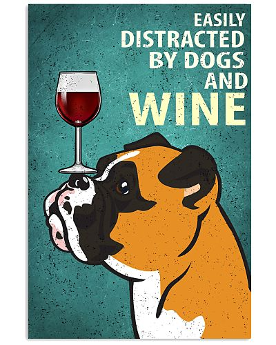 Boxer Dog And Wine Vintage Poster