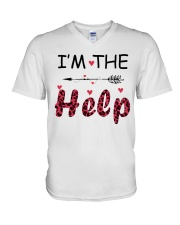 Wine I'm The Help V-Neck T-Shirt thumbnail