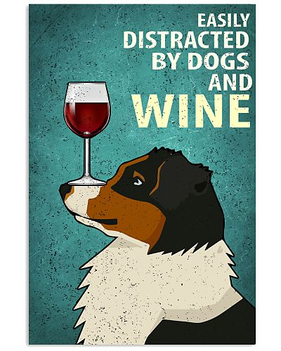 Australian Shepherd And Wine Vintage Poster