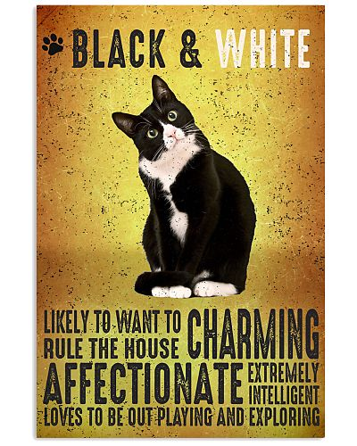 Black And White Cat Vintage Poster