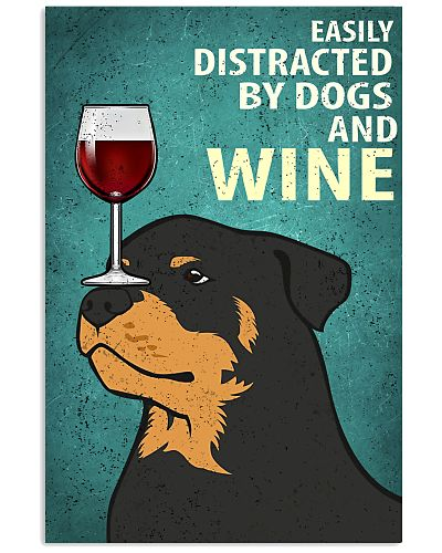 Rottweiler Dog And Wine Vintage Poster