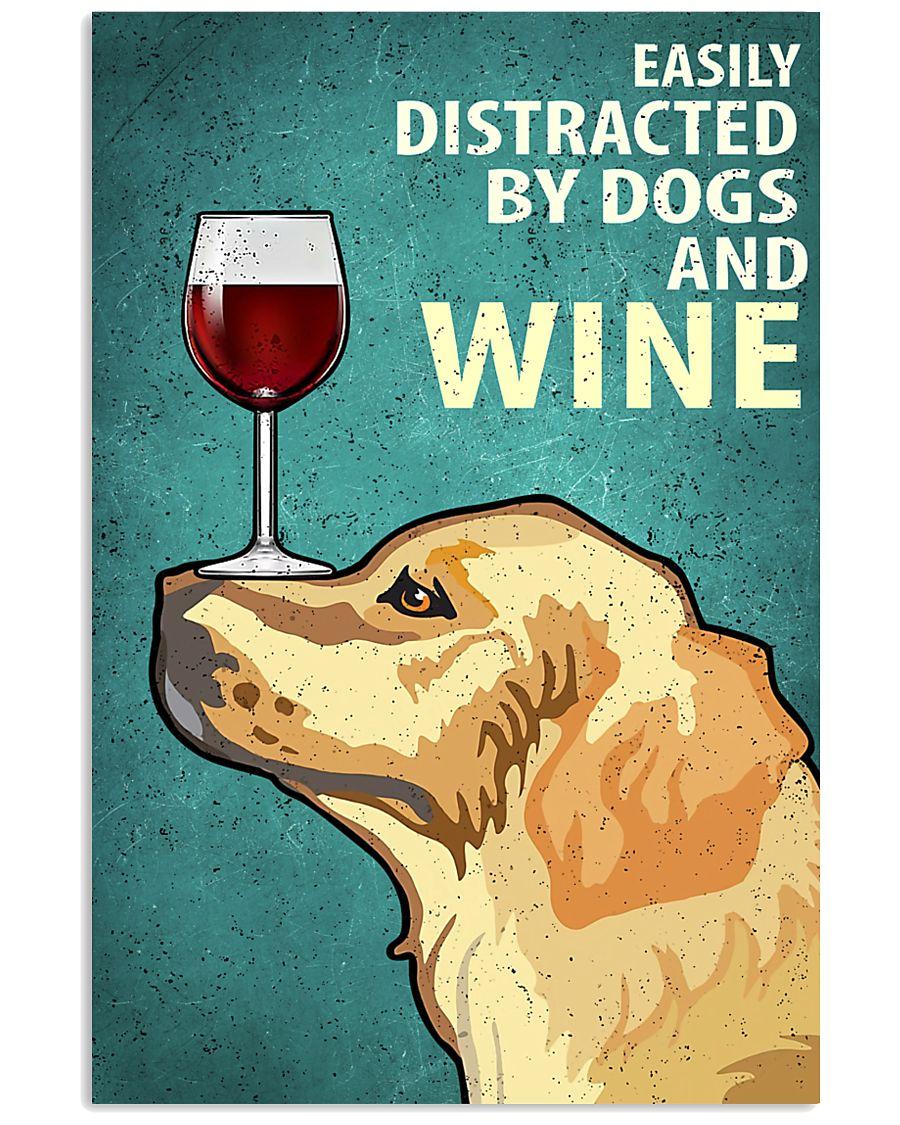Golden Dog And Wine Vintage Poster 11x17 Poster