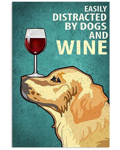 Golden Dog And Wine Vintage Poster
