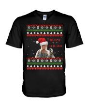 Jareth Labyrinth Tra La La La Christmas sweater V-Neck T-Shirt thumbnail