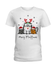 Cat Merry Fluffmas Christmas sweatshirt Ladies T-Shirt thumbnail