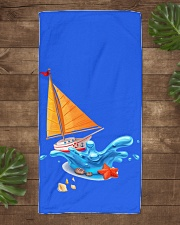 Shop Sailboat Beach Towel for seaside or Sailing Beach Towel aos-towelbeach-vertical-front-lifestyle-1