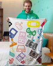 "consoles gaming design Small Fleece Blanket - 30"" x 40"" aos-coral-fleece-blanket-30x40-lifestyle-front-09"