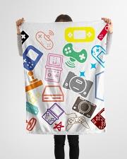 "consoles gaming design Small Fleece Blanket - 30"" x 40"" aos-coral-fleece-blanket-30x40-lifestyle-front-14"