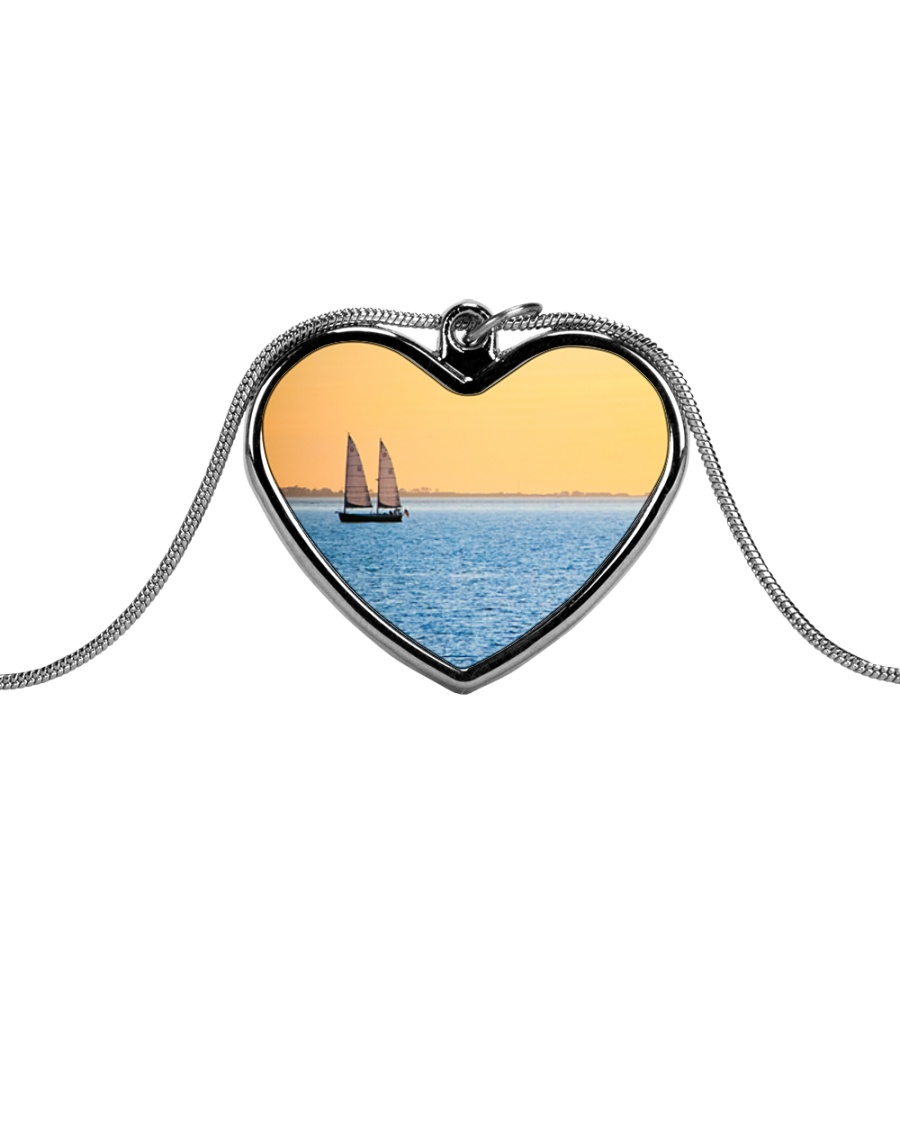 Florida Sunset 5 jewelry Metallic Heart Necklace