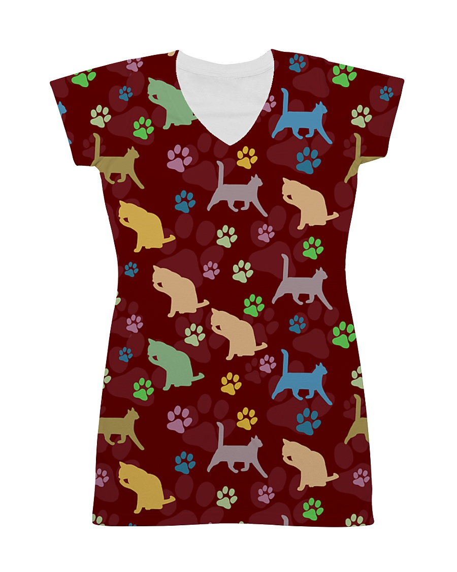Cat Pattern All Over T-shirt All-over Dress