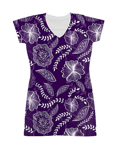 All-over Dress Purple Fowers