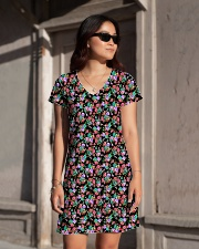 Cute Small Colorful Flowers All-over Dress aos-dress-front-lifestyle-1