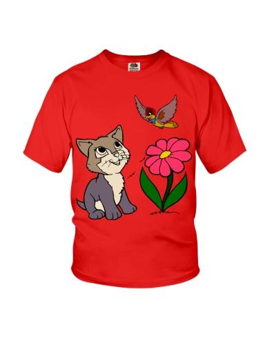 Cat Bird And Flower T Shirt