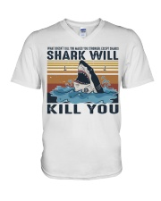 Shark Will Kill You V-Neck T-Shirt thumbnail