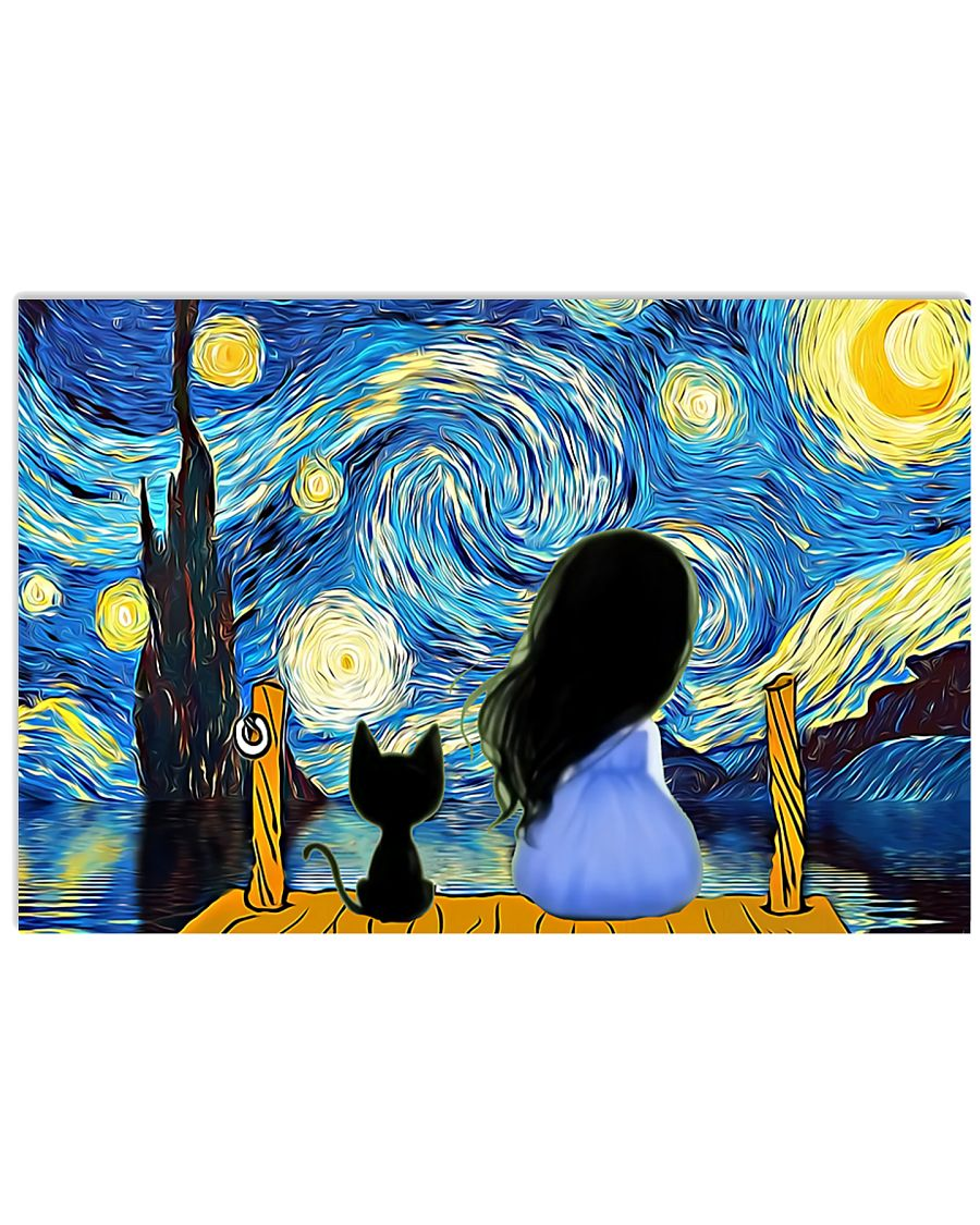 Girl And Cat Starry Night 17x11 Poster