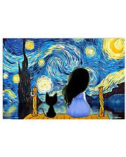 Girl And Cat Starry Night 17x11 Poster front