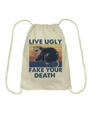 Live Ugly Fake Your Death Drawstring Bag thumbnail