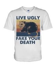 Live Ugly Fake Your Death V-Neck T-Shirt thumbnail