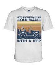 Never Underestimate A Old Man V-Neck T-Shirt thumbnail