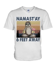 Namastay 6 Feet Away V-Neck T-Shirt thumbnail