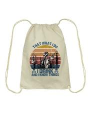 I Drink And I Know Things Drawstring Bag thumbnail