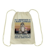 I Meditate I Burn Candles Drawstring Bag tile