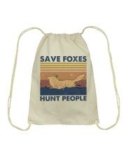 Save Foxes Hunt People Drawstring Bag thumbnail