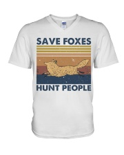 Save Foxes Hunt People V-Neck T-Shirt thumbnail