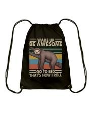 Wake Up Be Awesome Drawstring Bag thumbnail