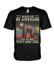 Wake Up Be Awesome V-Neck T-Shirt thumbnail