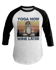 Yoga Now Wine Later Baseball Tee tile