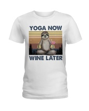 Yoga Now Wine Later Ladies T-Shirt tile