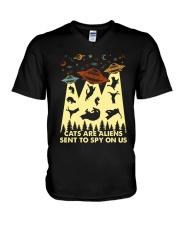 Cats Are Aliens V-Neck T-Shirt thumbnail