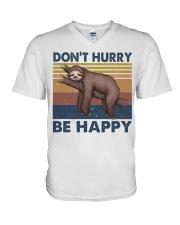 Dont Hurry Be Happy V-Neck T-Shirt thumbnail