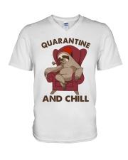 Quarantine And Chill V-Neck T-Shirt thumbnail