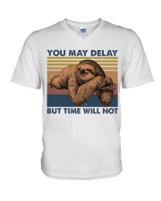 You May Delay Funny Sloth V-Neck T-Shirt tile