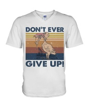 Dont Ever Give Up V-Neck T-Shirt thumbnail