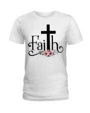 Faith Pink FLower Ladies T-Shirt thumbnail