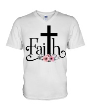 Faith Pink FLower V-Neck T-Shirt thumbnail