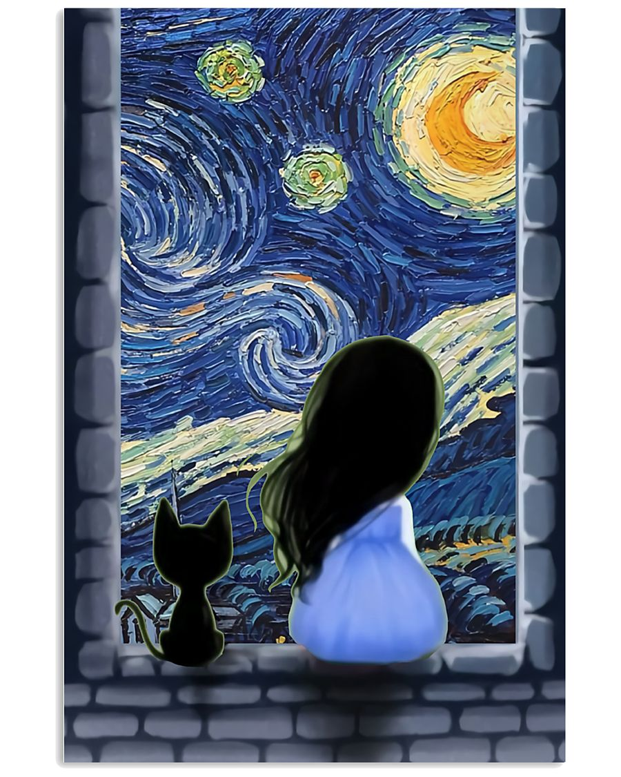 Girl And Cat Starry Night 11x17 Poster