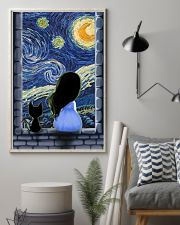 Girl And Cat Starry Night 11x17 Poster lifestyle-poster-1