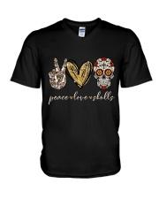 Peace Love Skulls V-Neck T-Shirt thumbnail
