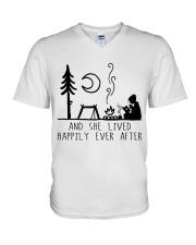 And She Lived Happily V-Neck T-Shirt thumbnail