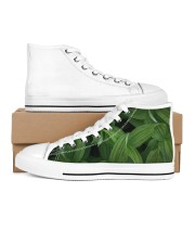 Green Natured Leaves Men's High Top White Shoes thumbnail