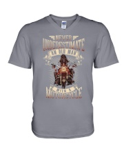 Never Underestimate An Old Man With A Motorcycle V-Neck T-Shirt thumbnail