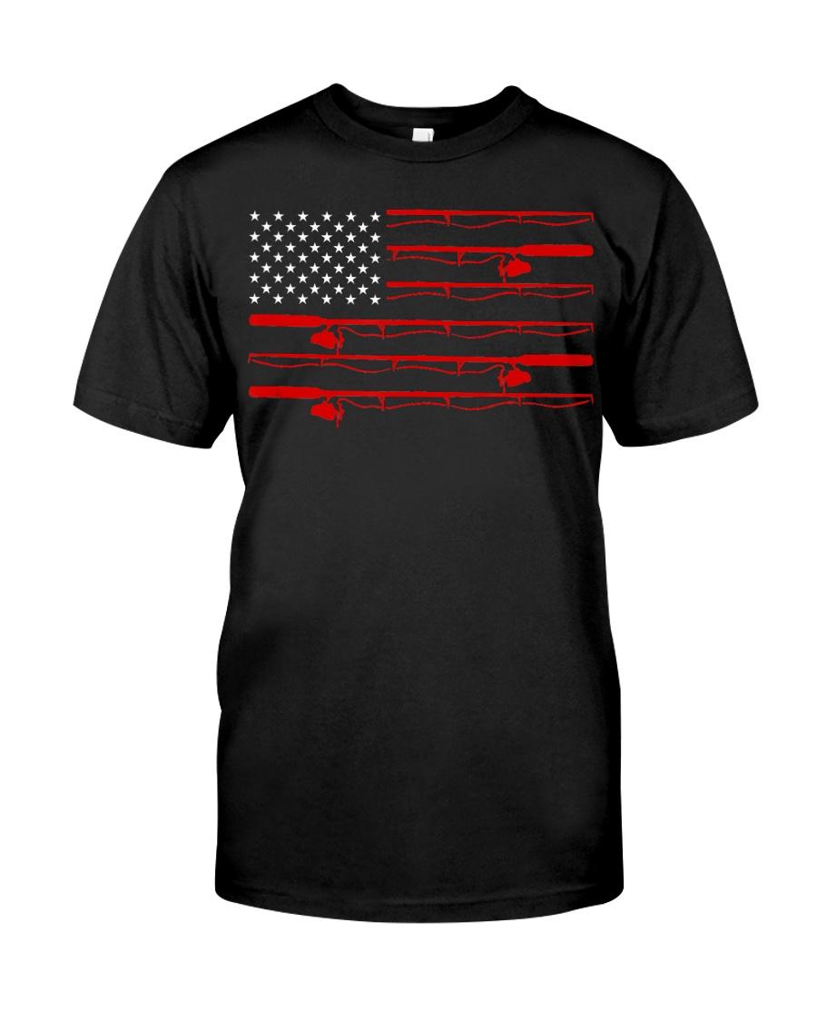 American Flag Fishing Rod Reel Pole Fishers  Classic T-Shirt
