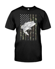 American Camouflage USA Flag Bass Fishing Fi Classic T-Shirt front