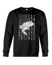 American Camouflage USA Flag Bass Fishing Fi Crewneck Sweatshirt thumbnail