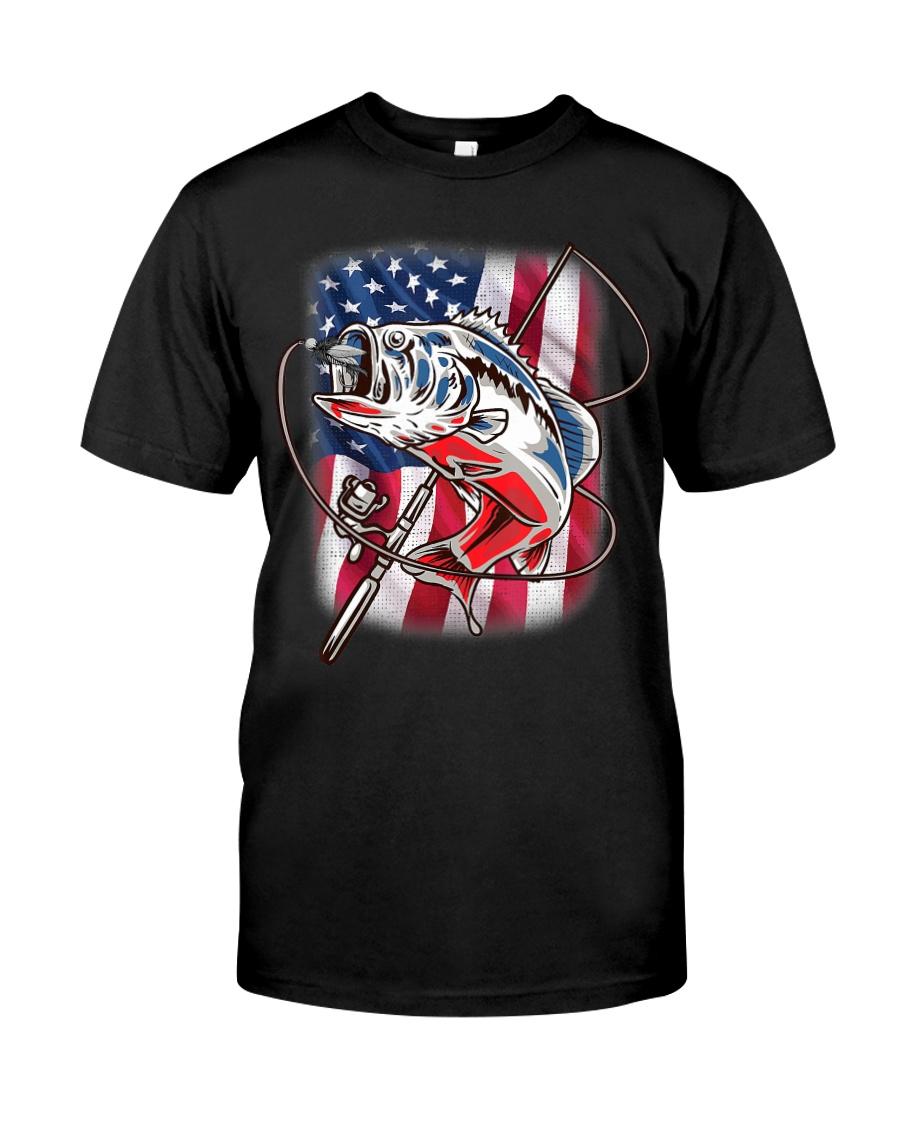 American Flag Fishing Shirt Vintage USA Bass Classic T-Shirt